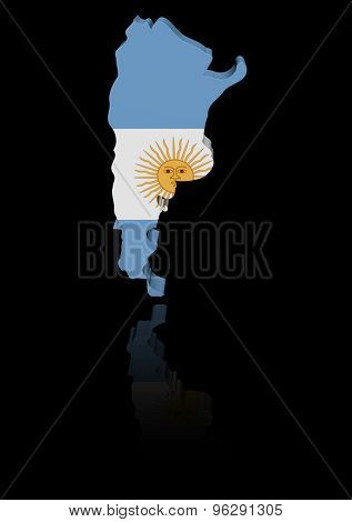 Argentina map flag with reflection illustration