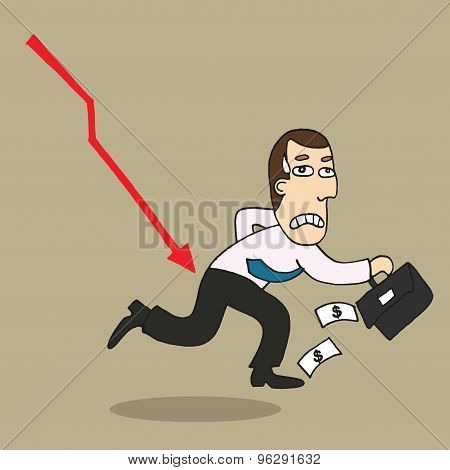 Cartoon Businessman Shocking Down Arrow And Downturn Economic Crisis