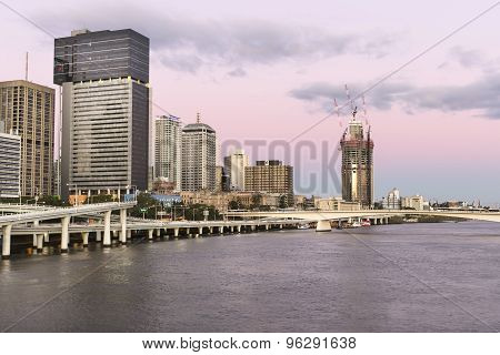 Brisbane Cityscape sunset with 1 William St