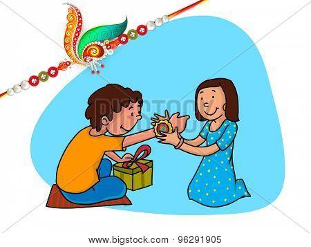 Cute little sister tying rakhi on her brother's wrist and illustration of a beautiful rakhi for Indian festival, Raksha Bandhan celebration.