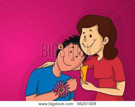 Illustration of a happy young sister hugging her younger brother while celebrating Raksha Bandhan festival.