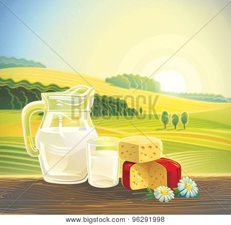 Rural landscape with set of dairy products. Raster illustration.