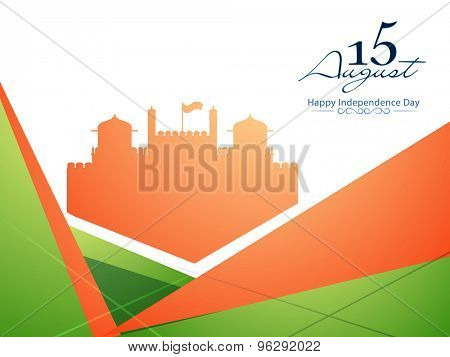 Glossy illustration of Red Fort for 15 August, Indian Independence Day celebration.