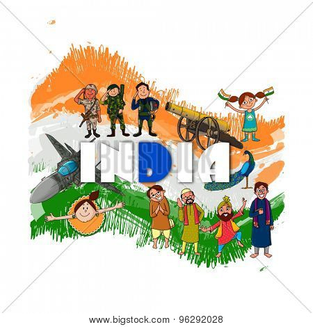 Creative illustration showing Indian culture, tradition and strength on national flag color background for Independence Day celebration.