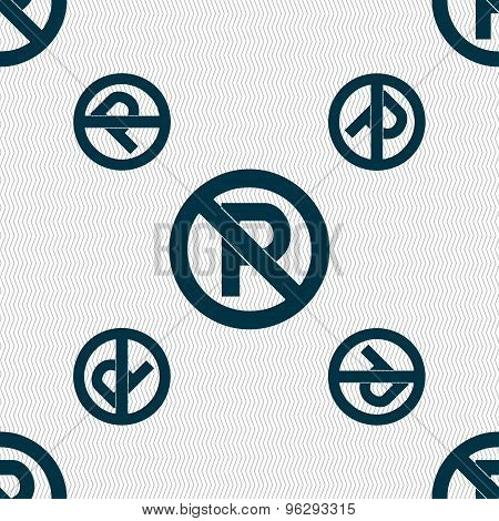No Parking Icon Sign. Seamless Pattern With Geometric Texture. Vector