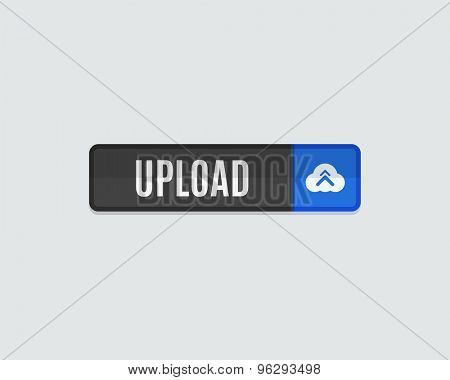 Upload web button. Cloud and arrow. Modern flat design website icon and design element