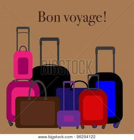 Flat design illustration baggage. Handbag suitcase.