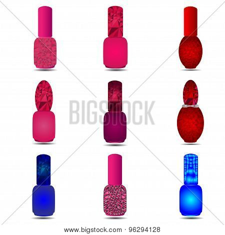 Polygonal set different bottles of nail