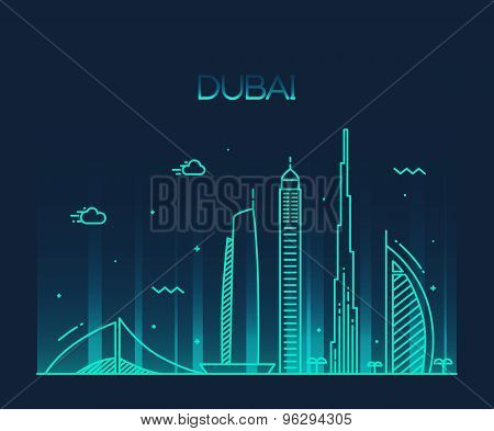 Dubai City skyline Trendy vector line art