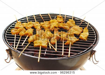 Pork Satay, Traditional Thai Steak Roasted Pork On Grilled