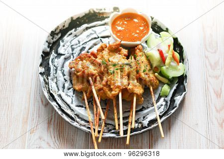 Pork Satay, Traditional Thai Steak Roasted Pork On Wood Table