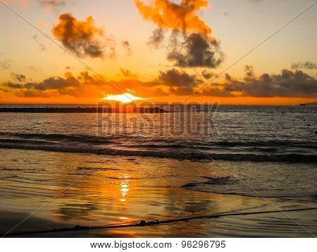 Sunset reflecting