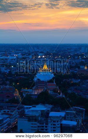 Golden Mount Temple in Bangkok Thailand,