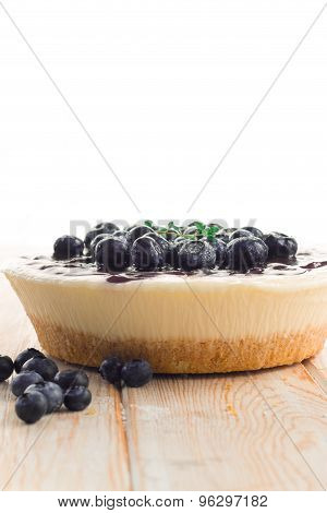 Blueberry Pic Cheese Cake On Wood Table