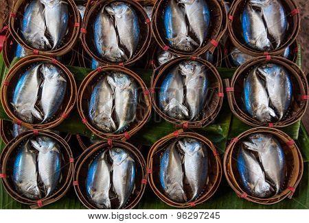 Mackerel Fish In Bamboo Basket, Thailand market..