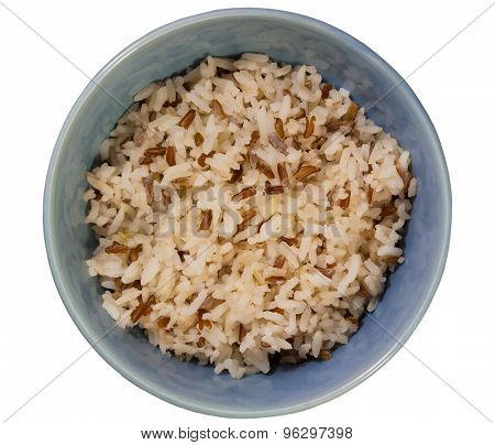 Jasmine Rice With Brown Rice In A Dish..