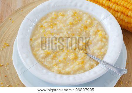 Corn Porridge In White Vintage Plate