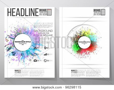Abstract circle white banners with place for text, watercolor stains, and molecular geometric grid.