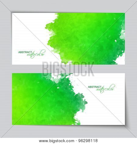 Abstract Vector Watercolor Green Banners