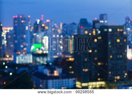 View of big city night lights blurred bokeh background