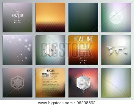 Set of 12 creative cards, square brochure template design, geometric backgrounds set, abstract hexag