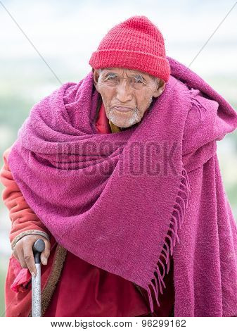 Old Tibetan Buddhist Monk In Ladakh. India