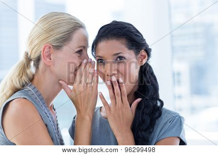 Businesswoman whispering gossip to her colleague in the office