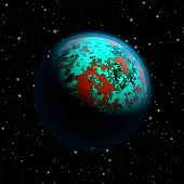 picture of continent  - Abstract planet Earth with blue atmosphere toxic oceans and red flooded continents - JPG
