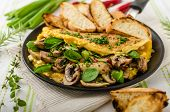 picture of french-toast  - Omelet with mushrooms lamb - JPG