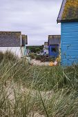 picture of beach hut  - Beach huts on sand dunes and beach landscape - JPG