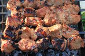image of braai  - Shashlick laying on the grill close up - JPG