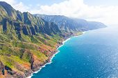 stock photo of na  - aerial view from helicopter at gorgeous na pali coast at kauai island hawaii - JPG