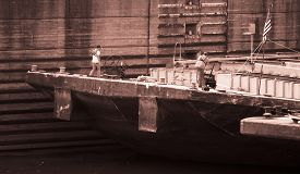 picture of barge  - Barge Workers on a Large Barge - JPG
