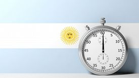 picture of chronometer  - Flag of Argentina with chronometer - JPG