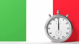 stock photo of chronometer  - Flag of Italy with chronometer - JPG