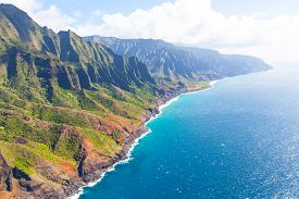 image of helicopters  - aerial view from helicopter at gorgeous na pali coast at kauai island hawaii - JPG