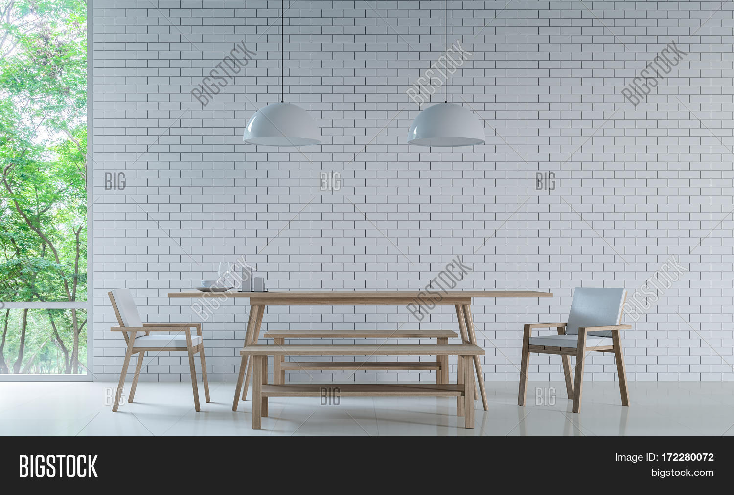 modern white dining room decorate wall with white brick 3d