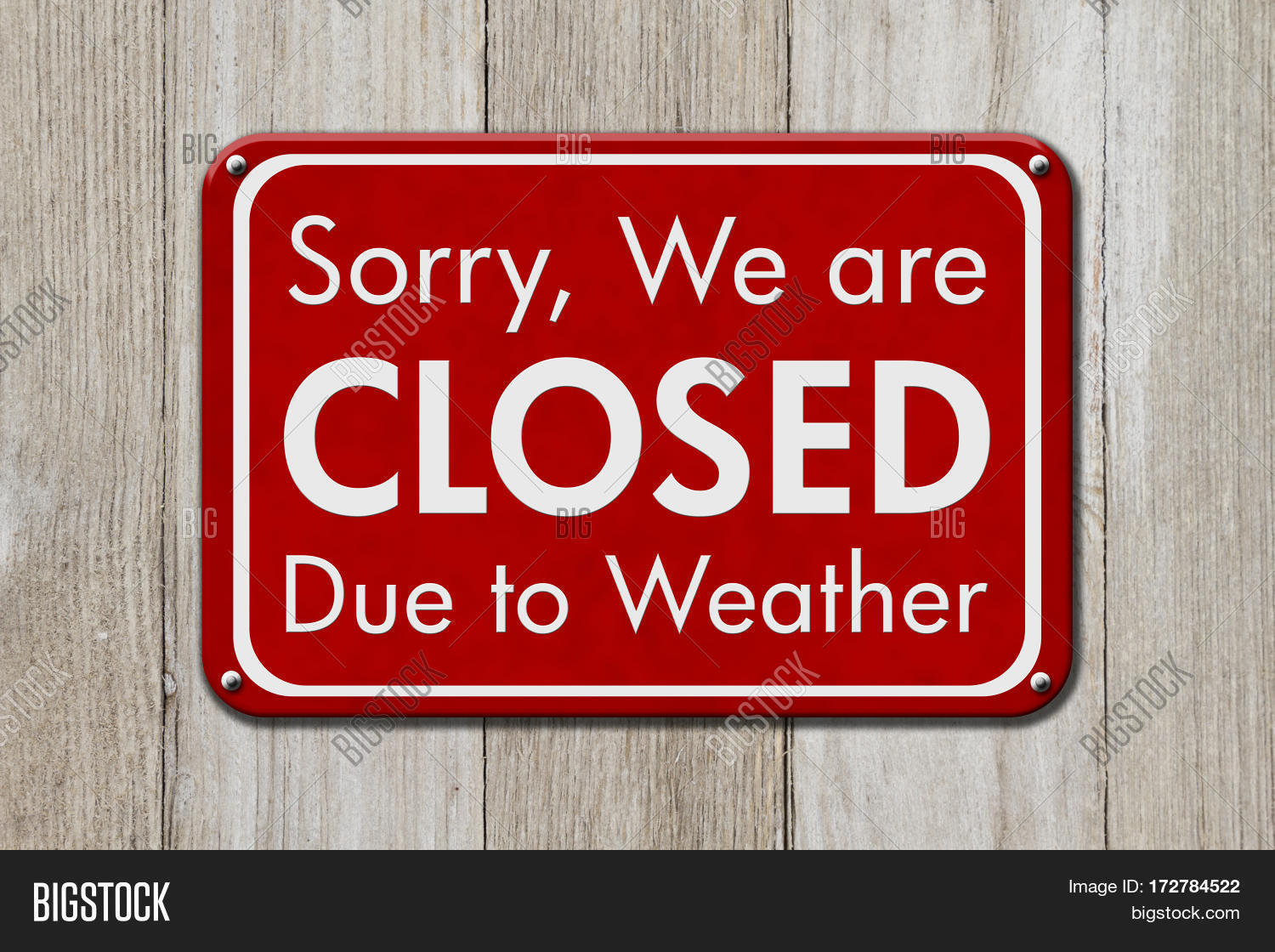 Closed Due Weather Sign Red Sign Image & Photo   Bigstock