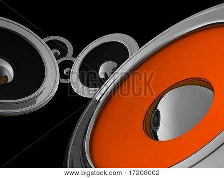 3D concept of black, orange audio speakers in metal cases, isolated on black