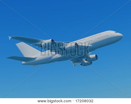 3d Rendering Of Airbus A380 Flying In Blue Sky