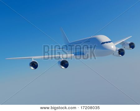 3D rendering of Airbus A380 flying in blue sky, isolated, included