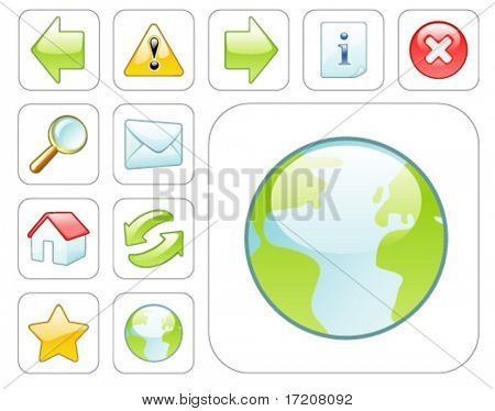 Glossy colorful web icons on white background