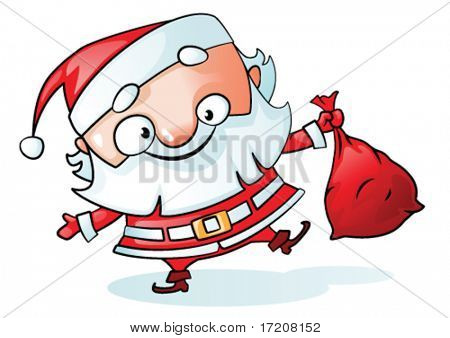 Funny Santa isolated on white, vector illustration