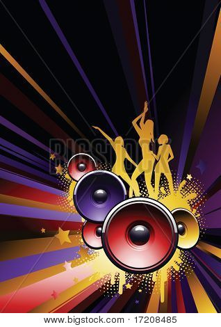 Dance party background with copy space. See my portfolio for vector version.