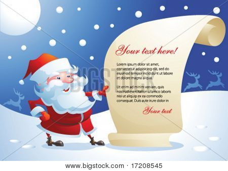 Santa Claus reading a message, vector illustration