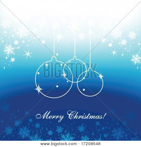 Seasonal greetings template with copy space in blue colors, vector