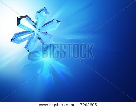 Abstract background with glass snowflake