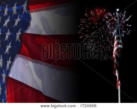 Us Flag Fading To Black With Fireworks