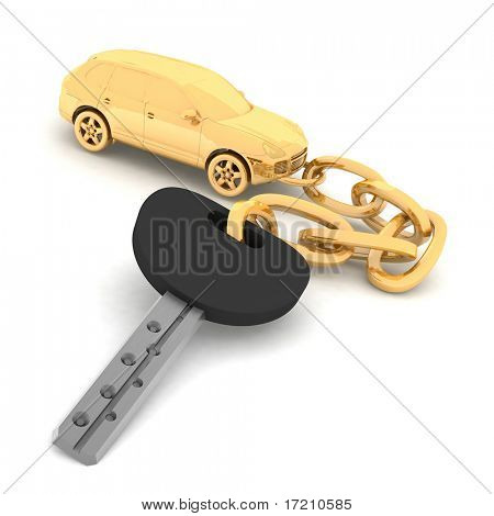 gold pendant on the keys of the car