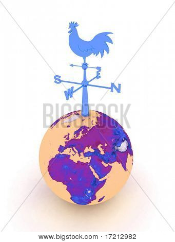 weathercock and globe on a white background